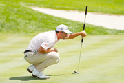 Adam Scott of Australia lines up a putt on the seventh green  during the final round of The Northern Trust at Liberty National Golf Club on August 11, 2019 in Jersey City, New Jersey.