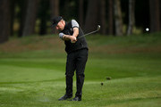 David Higgins of the Great Britain and Ireland PGA Cup in action during the morning fourball matches on day 2 of the 28th PGA Cup at Foxhills Golf Course on September 16, 2017 in Ottershaw, England.