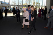 Queen Elizabeth II arrives to the Chichester Theatre while visiting West Sussex on November 30, 2017 in Chichester, United Kingdom.
