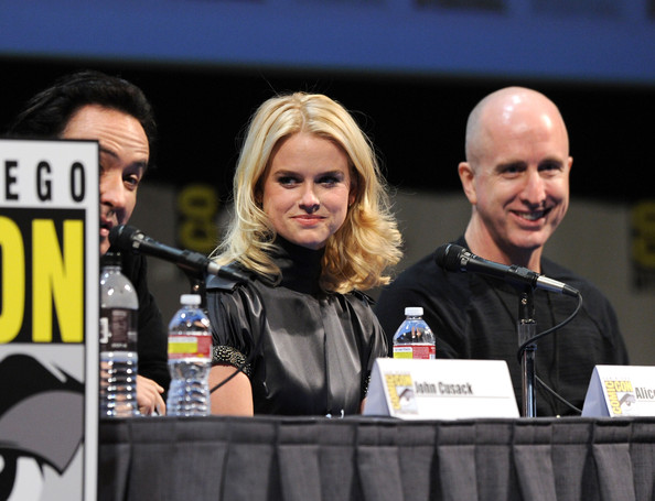 "Actress Alice Eve and director James McTeigue speak at ""The Raven"" Panel during Comic-Con 2011 on July 22, 2011 in San Diego, California."