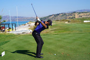 Alvaro Quiros of Spain plays a shot during the second round of the The Rocco Forte Open at the Verdura Gol Resort on May 11, 2018 in Sciacca, Italy.