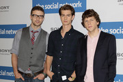 (L-R) The actors Justin Timberlake, Andrew Garfield and Jesse Eisenberg attend a photocall to promote the film 'The Social Network' at Hotel Adlon on October 5, 2010 in Berlin, Germany.