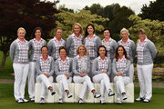(back row left to right) Charley Hull, Carlota Ciganda, Suzann Pettersen, Anna Nordqvist, Sandra Gal, Caroline Masson, Melissa Reid and Caroline Hedwall. (front row left to right) Gwladys Nocera, Catorina Matthew, Team Captain Carin Koch, Karine Icher and Azahara Munoz.  Team Europe pose for a group photograph prior to the start of the Solheim Cup at St Leon-Rot Golf Club on September 15, 2015 in St. Leon-Rot, Germany.