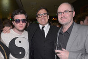 (L-R) Matthew Russell, director David O. Russell and Steve Pond, Awards Editor of TheWrap attend TheWrap 4th Annual Pre-Oscar Party at Four Seasons Hotel Los Angeles at Beverly Hills on February 20, 2013 in Beverly Hills, California.