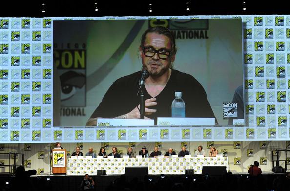 'Sons of Anarchy' Panel at Comic-Con [sons of anarchy,eyewear,design,event,adaptation,media,glasses,animation,world,games,vision care,paris barclay,kurt sutter,creator,actors,l-r,panel,fx,panel,comic-con international]