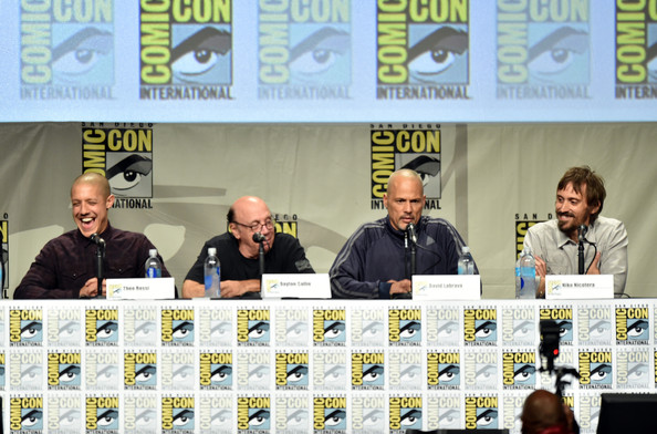 'Sons of Anarchy' Panel at Comic-Con [sons of anarchy,news conference,event,comics,fiction,actors,david labrava,niko nicotera,l-r,san diego convention center,panel,fx,panel,comic-con international]