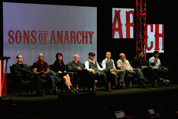 2012 Summer TCA Tour - Day 8 [paris barclay,kurt sutter,creator,actors,theo rossi,tommy flanagan,dayton callie,l-r,portion,event,convention,academic conference,news conference,font,public speaking,summer tca]