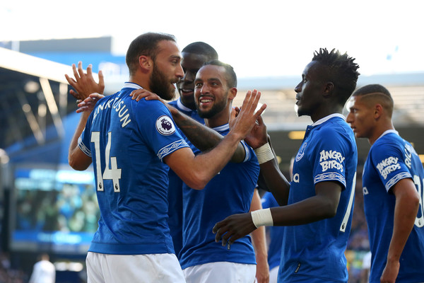 Everton FC vs. Fulham FC - Premier League [team,player,team sport,championship,gesture,fun,sports,competition event,cheering,tournament,cenk tosun,teammates,goal,sides,liverpool,united kingdom,everton fc,fulham fc,premier league,match]