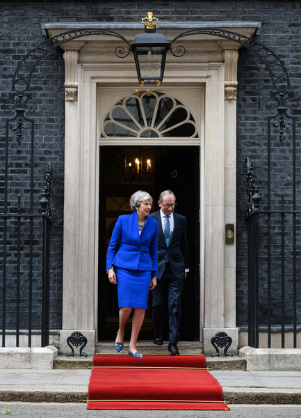 US President Trump's State Visit To UK - Day Two [red,blue,standing,door,architecture,photography,vacation,house,building,arch,donald trump,theresa may,philip,melania trump,president,us,state visit to uk,business meetings,state visit,state visit]