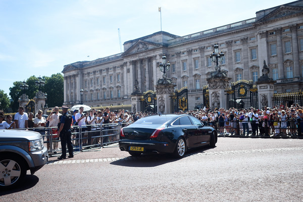 Queen Receives Outgoing And Incoming Prime Ministers [land vehicle,vehicle,car,luxury vehicle,bentley continental gt,bentley mulsanne,bentley,automotive design,transport,bentley continental flying spur,theresa may,prime ministers,queen,prime minister,monarch,seats,palace,buckingham palace,england,government]