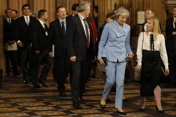 State Opening Of Parliament [suit,event,formal wear,white-collar worker,tuxedo,businessperson,uniform,official,tourism,theresa may,elizabeth ii,members,programme,houses of parliament,england,conservative,government,state opening of parliament,speech]