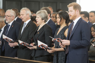 Theresa May Prince Harry And Meghan Markle Attend The 25th Anniversary Of Stephen Lawrence Memorial Service