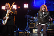 Jimmie Vaughan (L) and Robert Plant perform onstage during the Third Annual Love Rocks NYC Benefit Concert for God's Love We Deliver on March 07, 2019 in New York City.