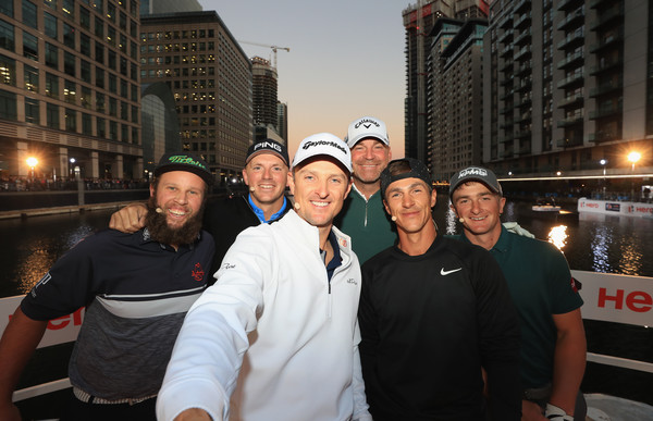 Hero Challenge - European Tour Golf [people,urban area,event,team,fun,city,tourism,downtown,night,crowd,andrew ``beef johnston,thomas bjorn,justin rose,matt wallace,paul dunne,thorbjorn olesen,l-r,england,denmark,hero challenge - european tour golf]