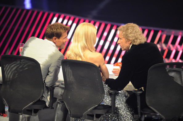 'Das Supertalent' Finals [event,interaction,conversation,sitting,performance,audience,stage,jury members,thomas gottschalk,michelle hunziker,dieter bohlen,l-r,cologne,germany,das supertalent finals]