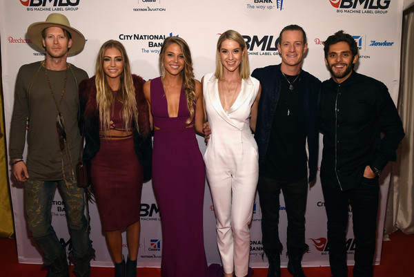 Big Machine Label Group Celebrates the 49th Annual CMA Awards in Nashville - Arrivals [red carpet,premiere,event,carpet,fashion,flooring,fashion design,performance,arrivals,brian kelley,thomas rhett,hayley stommel,lauren gregory,cma awards,l-r,nashville,big machine label group celebrates,florida georgia line]