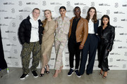 (L-R) Patrick Gibson, Natalie Dormer, Neelam Gill, Ncuti Gatawa, Tanya Reynolds and Vanessa White attend the Three Fashion Fuelled by 5G After Party following the Central St Martins MA Show  during London Fashion Week at Central St Martins on February 15, 2019 in London, England.
