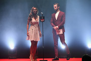 Amma Asante (L) and Dan Stevens (R) present the award for Best Actress during the THREE Empire awards at The Roundhouse on March 19, 2017 in London, England.