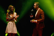 Amma Asante (L) and Dan Stevens present the award for Best Actress during the THREE Empire awards at The Roundhouse on March 19, 2017 in London, England.