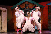 "(L-R)  Daniel Buckley, Simon Webbe, Taofique Folarin and Leanne Jones perform on stage during a photocall for ""The Three Little Pigs"" at Palace Theatre on August 5, 2015 in London, England."