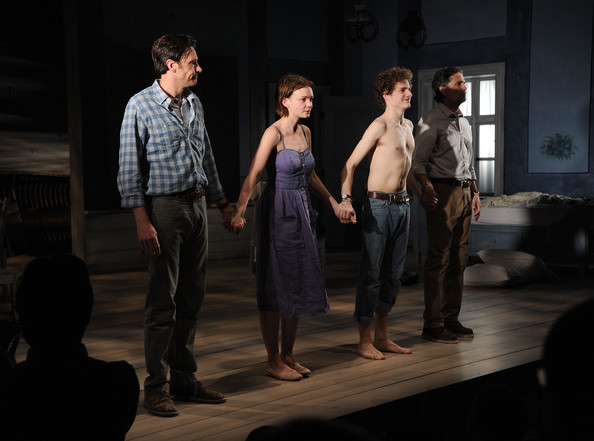 "Actors Jason Butler Harner, Carey Mulligan, Ben Rosenfield and Chris Sarandon attend the opening night of ""Through A Glass Darkly"" at the New York Theatre Workshop on June 6, 2011 in New York City."
