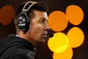 Head coach Mike Gundy of the Oklahoma State Cowboys watches from the sidelines during the fourth quarter of the TicketCity Cactus Bowl against the Washington Huskies at Sun Devil Stadium on January 2, 2015 in Tempe, Arizona.  The Cowboys defeated the Huskies 30-22.