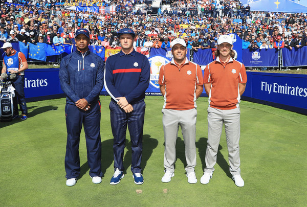 2018 Ryder Cup - Afternoon Foursome Matches [sports,sport venue,championship,product,competition event,team,stadium,ball game,tennis,player,tiger woods,francesco molinari,tommy fleetwood,bryson dechambeau,face,united states,europe,le golf national,foursome matches,ryder cup]