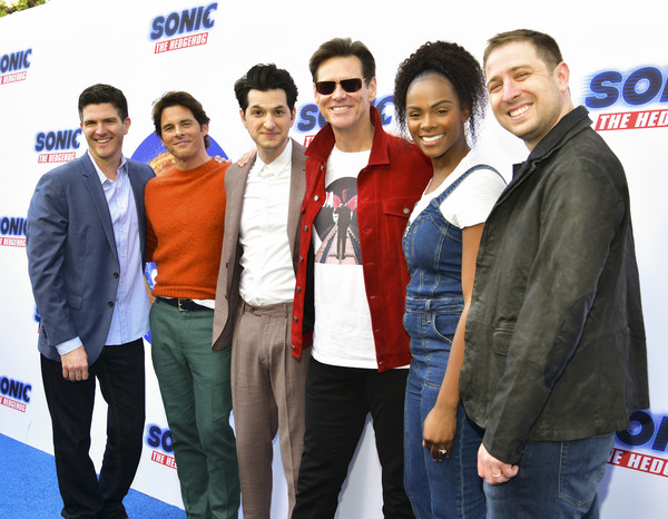 Sonic The Hedgehog Family Day Event - Arrivals [event,premiere,white-collar worker,family car,arrivals,ben schwartz,jim carrey,james marsden,jeff fowler,tika sumpter,toby ascher,l-r,event,sonic the hedgehog family day,jim carrey,ben schwartz,jeff fowler,james marsden,sonic the hedgehog,tika sumpter,paramount pictures,actor]