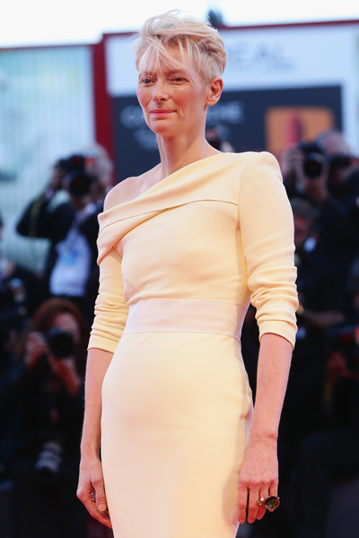 'A Bigger Splash' Premiere - 72nd Venice Film Festival [hair,fashion model,fashion,shoulder,clothing,fashion show,dress,hairstyle,beauty,blond,venice,italy,venice film festival,a bigger splash premiere,premiere,a bigger splash,tilda swinton,sala grande]