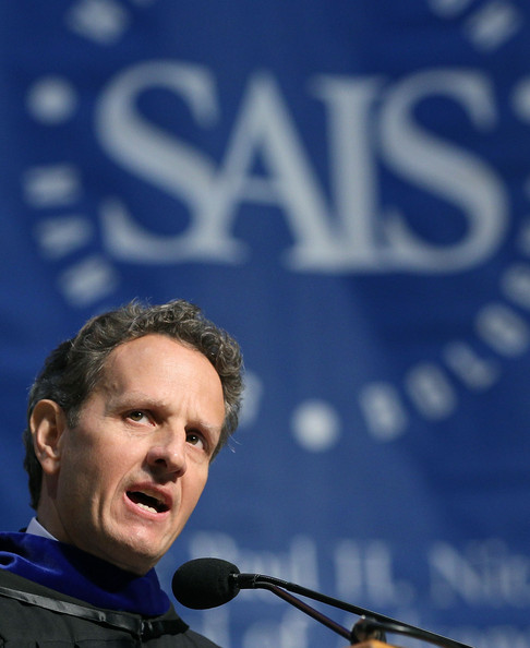 Treasury Secretary Timothy Geithner delivers the commencement address to the Johns Hopkins University Paul H. Nitze School of Advanced International Studies, on May 24, 2012 in Washington, DC. Secreatry Geithner is a 1985 SAIS graduate.