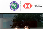 Tim Henman and Lindsay Davenport participate in a Wimbledon press conference with a twist, on HSBC's Court 20 at Wimbledon on July 2, 2019 in London, England.