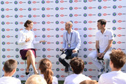 Lindsay Davenport, Andrew Cotter and Tim Henman participate in a Wimbledon press conference with a twist, on HSBC's Court 20 at Wimbledon on July 2, 2019 in London, England.