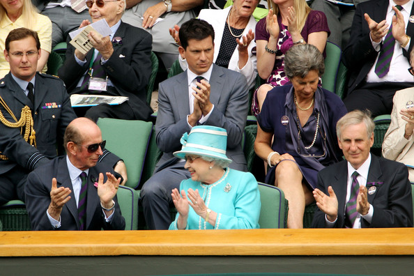 The Queen Attends The All England Tennis Championships At Wimbledon [event,crowd,audience,team,competition event,championship,government,official,parliament,games,queen,elizabeth ii,andy murray,tim henman,the duke of kent,attends,great britain,l,all england tennis championships,wimbledon]