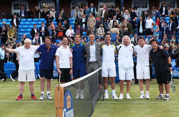 AEGON Championships - Day Seven [sports,tennis,ball game,sport venue,championship,racquet sport,competition event,team,crowd,player,boris johnson,richard branson,jonathan ross,tim henman,jimmy carr,andy murray,ross hutchins,l-r,london,aegon championships]