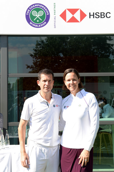 Tim Henman And Lindsay Davenport Double Up To Hit A Winning Return For HSBC And The Wimbledon Foundation [lindsay davenport double up to hit a winning return for hsbc,uniform,team,tim henman,lindsay davenport,twist,wimbledon,england,london,wimbledon foundation,hsbc,press conference]