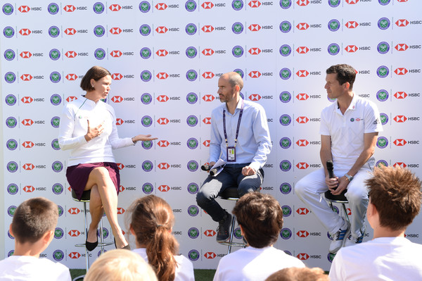 Tim Henman And Lindsay Davenport Double Up To Hit A Winning Return For HSBC And The Wimbledon Foundation [lindsay davenport double up to hit a winning return for hsbc,fashion,event,tim henman,lindsay davenport,andrew cotter,twist,wimbledon,england,london,wimbledon foundation,press conference]