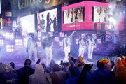 Donny Wahlberg, Danny Wood, Jordan Knight, Jonathan Knight and Joey McIntyre of the New Kids  perform during  the Times Square New Year's Eve 2019 Celebration on December 31, 2018 in New York City.