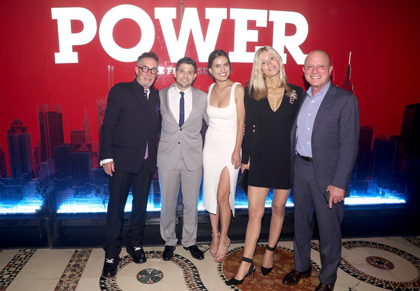 Starz 'Power' The Fifth Season NYC Red Carpet Premiere Event And After Party [event,team,company,suit,performance,breanne racano,tina trahan,mark canton,jerry ferrara,chris albrecht,l-r,new york city,starz ``power the fifth season nyc red carpet premiere,party,event]