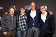 "(L-R) John Fawcett, Geoff Johns, Greg Walker and Akiva Goldsman attend ""Titans"" DC Series World Premiere at Hammerstein Ballroom on October 3, 2018 in New York City."