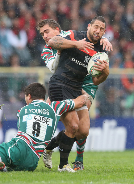 Toulouse v Leicester Tigers - Heineken Cup [sports,team sport,ball game,rugby player,player,rugby union,rugby,rugby league,tackle,rugby sevens,luke mcalister,toby flood,ben youngs,le stadium,france,heineken cup,toulouse,leicester tigers,l,match]