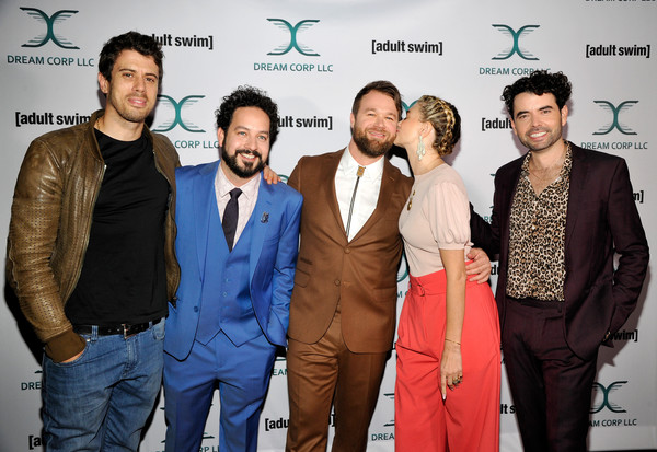 Adult Swim's DREAM CORP LLC Season 2 Premiere at The Ace Hotel DTLA [dream corp llc season 2 premiere,event,premiere,suit,formal wear,white-collar worker,daniel stessen,megan ferguson,ahmed bharoocha,toby kebbell,nicholas rutherford,l-r,the ace hotel dtla,ace hotel,adult swim]