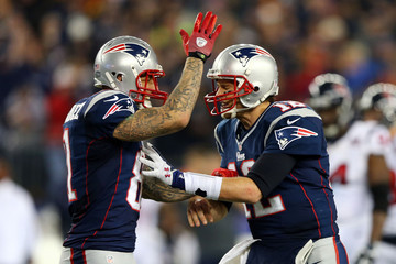 Tom Brady Aaron Hernandez Divisional Playoffs - Houston Texans v New England Patriots