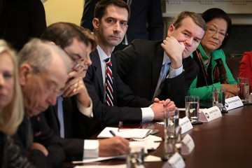 Tom Cotton President Trump Meets With Bipartisan Group of Senators on Immigration