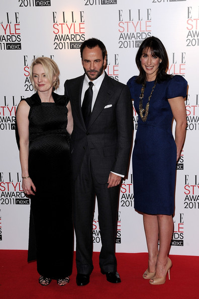 Tom Ford Editor Lorraine Candy (L) and Samantha Cameron (R) poses with the winner of the award for International Designer, Tom Ford (C) at the 2011 ELLE Style Awards at the Grand Connaught Rooms on February 14, 2011 in London, England.
