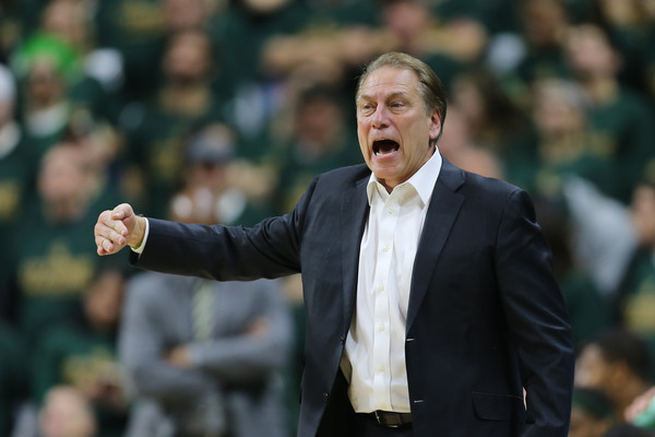 Maryland v Michigan State [coach,gesture,manager,tom izzo,players,v,instructions,michigan,michigan state,maryland,michigan state spartans,maryland terrapins,game]