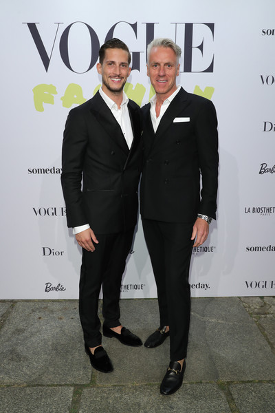 Vogue Party In Berlin [suit,fashion,formal wear,tuxedo,event,white-collar worker,premiere,fashion design,style,maximilian fiesel,tom junkersdorf,editor-in,berlin,germany,vogue party,party,gq,chied]