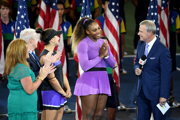2019 US Open - Day 13 [womens singles,uniform,event,fashion,fun,competition event,flag,competition,ceremony,championship,world,tom rinaldi,serena williams,bianca andreescu,united states,canada,borough,espn,us open,match]