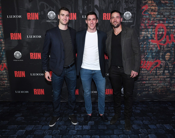 "Grand Opening Night For ""R.U.N - The First Live Action Thriller"" Presented By Cirque du Soleil [r.u.n - the first live action thriller,social group,red,fashion,event,font,night,photography,performance,denim,jeans,deryk engelland,nicolas roy,tomas nosek,l-r,luxor hotel and casino,las vegas,cirque du soleil,vegas golden knights,grand opening night]"