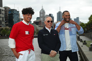 Designer Tommy Hilfiger (C) poses with Josh Gibson (R) and Denzel M during a press call on November 15, 2019 in Melbourne, Australia.
