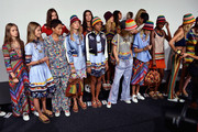 Models Avery Blanchard, Julia Jamin, Lineisy Montero, Angel Rutledge (rear), Maartje Verhoef, Bella Hadid (rear), Alecia Morais, Hailey Baldwin (rear), Julie Hoomans, Harleth Kuusik, Leomie Anderson, Lexi Boling and Vanessa Moody pose backstage at Tommy Hilfiger Women's Spring 2016 during New York Fashion Week: The Shows  at Pier 36 on September 14, 2015 in New York City.
